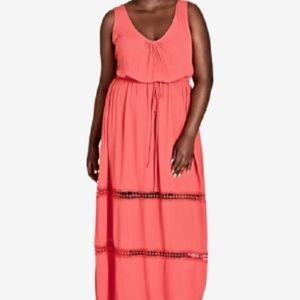 New City Chic Drawstring Waist Maxi Dress
